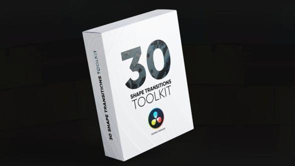 达芬奇模板-30种简单图形过去转场预设 Shape Transitions Toolkit