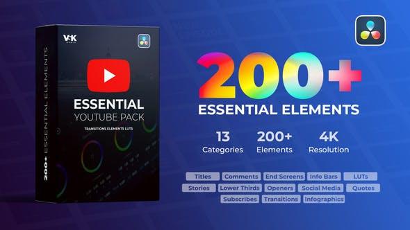 达芬奇模板-200个视频社交自媒体宣传介绍展示动画预设 YTB Essential Pack